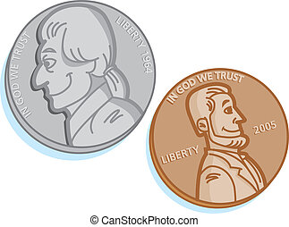 Coins - Nickel and penny coin