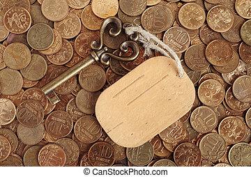 coins, etiqueta, llave, plano de fondo