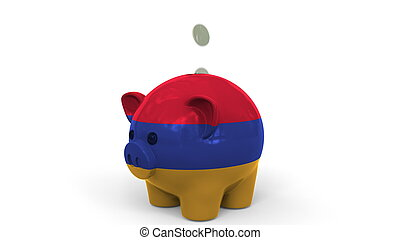 Coins fall into piggy bank painted with flag of Armenia. National banking system or savings related conceptual 3D rendering