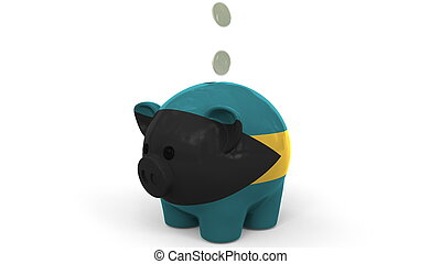 Coins fall into piggy bank painted with flag of Bahamas. National banking system or savings related conceptual 3D rendering
