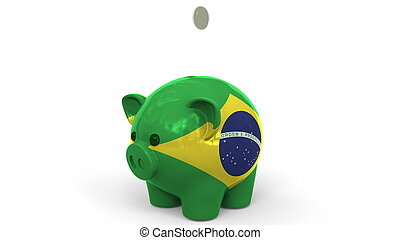 Coins fall into piggy bank painted with flag of Brazil. National banking system or savings related conceptual 3D rendering