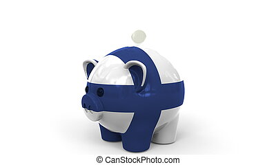 Coins fall into piggy bank painted with flag of Finland. National banking system or savings related conceptual 3D rendering