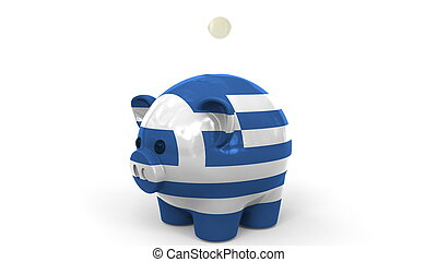 Coins fall into piggy bank painted with flag of Greece. National banking system or savings related conceptual 3D rendering