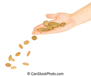 coins fall out of the hands on a pile of gold coins
