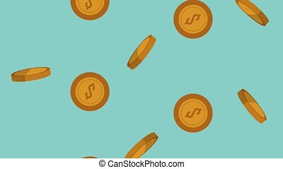 Coins falling background HD animation