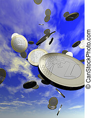 Coins falling from the sky - includes a clipping path for easy cut outs.