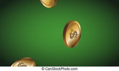 Coins falling down HD animation - Hand with casino chips...