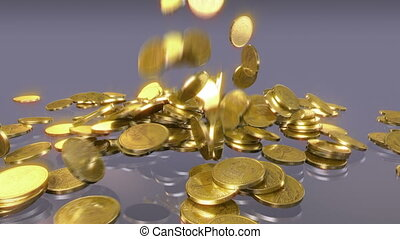 Coins falling - High quality falling coins animation.