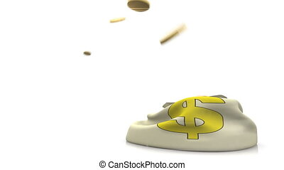 Coins Falling in Money Bag. - Flying Money Coins, Falling in...