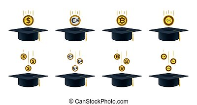 Coins falling into graduation caps Educational and financial...