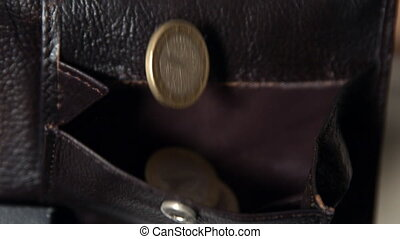 Coins falling into leather wallet