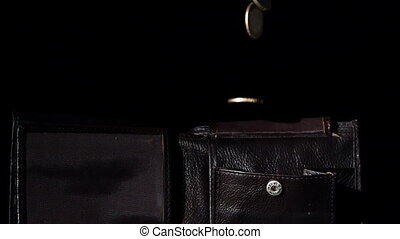 Coins falling into leather wallet in slow motion