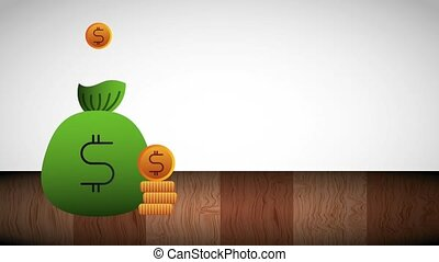 coins filled money bag stacked currency animation