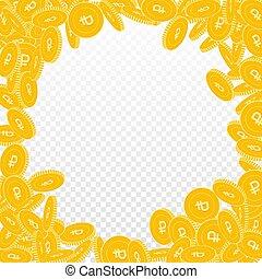 coins, frotación, falling., rublo, grande, dispersado, ruso,...