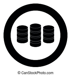 Coins  icon black color in circle