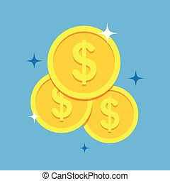Coins icon vector illustration in a flat style.