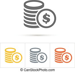 Coins Icons. Gold, silver, copper.  Vector