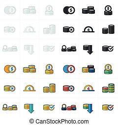 Coins Icons Set 4 style
