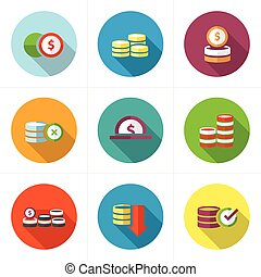 Coins Icons Set design flat