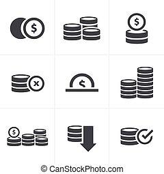Coins Icons Set, Vector Design black color