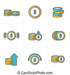 Coins Icons Set, yellow and green style