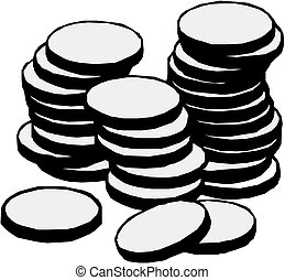 coins, ilustración, vector