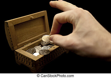 Coins in a casket