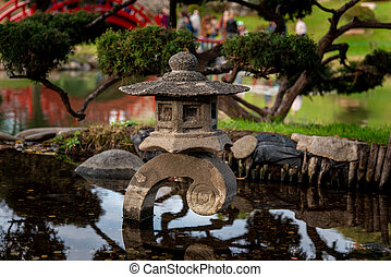 Coins in a small japanese pond with reflections