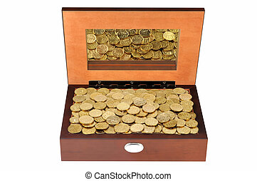 Coins in a wooden casket