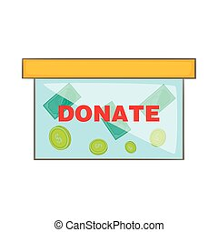 Coins in donate box icon, cartoon style