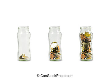 Coins in glass jar isolated on white background include clipping path. Growing money concept : Coin increase 1 2 3 step by step.