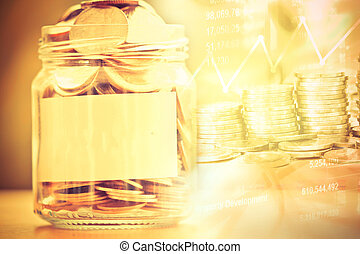 Coins in glass jar with empty label  for money saving financial concept
