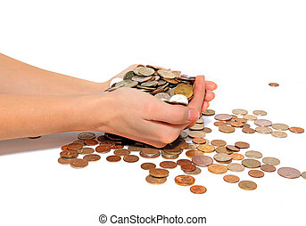 coins in hand on white background