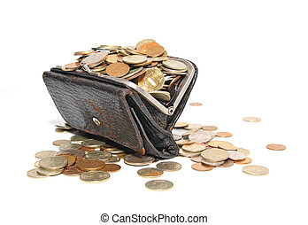 coins in purse on white background
