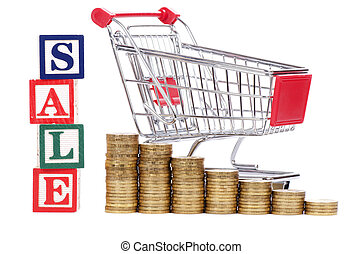 Coins in the form of the diagramme, shopping cart and word...