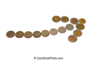 Coins in the up arrow shape isolated on white