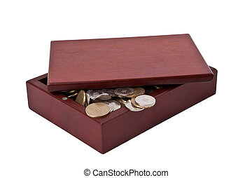 Coins in wooden Box on White Background