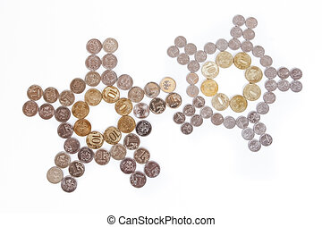 Coins laid out in the shape of a clock