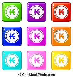 Coins lao kip icons 9 set - Coins lao kip icons of 9 color...