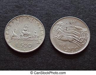 coins, liras, italiano, plata