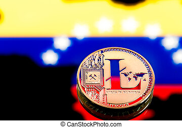 coins litecoin, amid Colombia flag, concept of virtual money, close-up. Conceptual image.