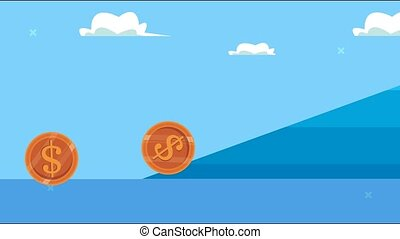 coins money dollars in hill animation