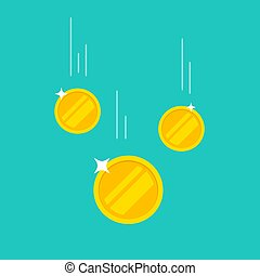 Coins money falling or dropping vector flat cartoon icon isolated on color background, tree golden coin flying, cashback income or savings