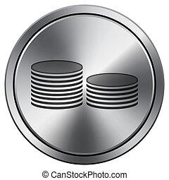 Coins. Money icon. Round icon imitating metal.