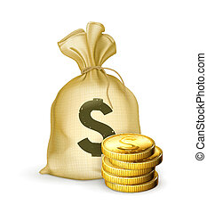 coins, moneybag