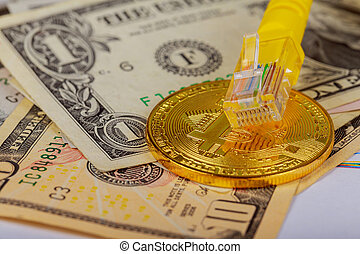 coin bitcoin dollars graphic card internet wire