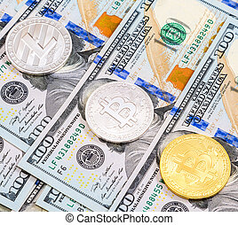 Coins of cryptocurrency lying over american dollars close up. Business concept