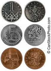 Coins of Czech republic (Europe) - two sides (1, 5 and 10 Kc)
