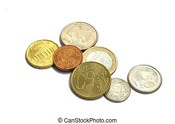 Coins of the different countries (euro, roubles, groshy), isolated on a white background