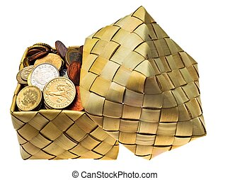 Coins of the different countries is in a wattled box